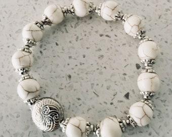 Womens Bracelet/Distinctive White howlite beaded bracelet  for women with antique  silver charm
