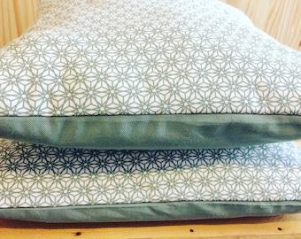 Celadon green origami pillow cover
