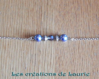 Dark blue and silver, glass beads and metal beads bracelet