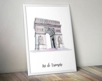 Arc wall art etsy arc de triomphe print monument poster art print wall art watercolor painted monument malvernweather Choice Image