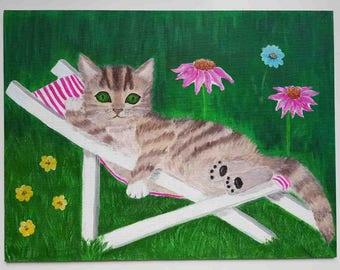 Cat painting, Pet painting, Painting of a cat on vacation, original.