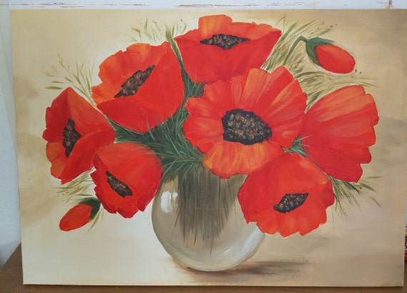Poppies In A Vase Painting Flowers In A Vase Acrylic Etsy