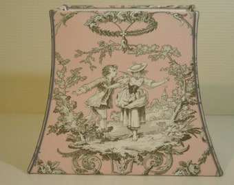 Lamp shade pagoda rectangle toile de Jouy pink and gray