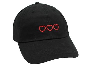 1f8e8f952e7 Triple Heart Embroidered Cap Dad cap dad hat embroidered baseball cap love cap  hat unisex cap