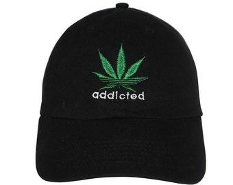 6ea54063349 Addicted to weed Embroidered Cap Dad cap dad hat embroidered baseball cap  marijuana hat unisex cap
