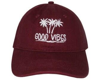 3ee00a1148f Good Vibes Embroidered Cap Dad cap dad hat embroidered baseball cap good  vibes hat unisex cap