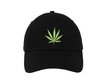 97912efce05 Weed Leaf Embroidered Cap dad hat embroidered baseball cap marijuana  inspired hat unisex cap