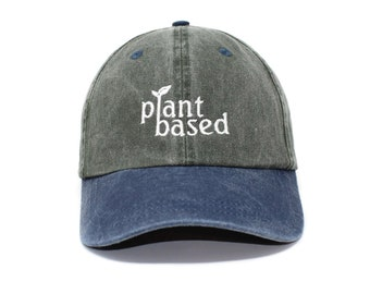 c450542ed28 Plant Based Embroidered Cap Dad cap dad hat embroidered baseball cap Plant  Lover  Vegan hat unisex cap