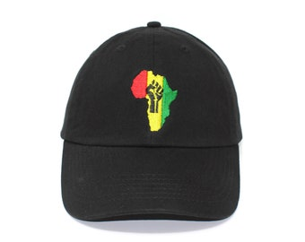Black Power Africa Inspired Embroidered Cap dad hat embroidered baseball cap  black pwr hat unisex cap cc797709e5b0