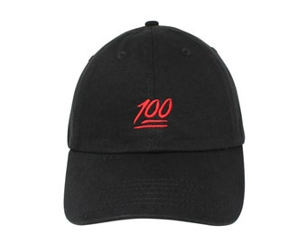 a00d596772cd 100 emoji one hundred Embroidered Cap dad hat embroidered baseball cap 100 emoji  hat unisex cap