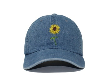 61973fbb15e Sunflower Embroidered Cap dad hat embroidered baseball cap sunflower hat  unisex cap
