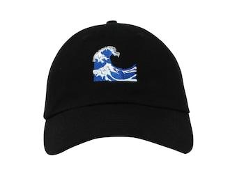 Wave Emoji Embroidered Cap Dad cap dad hat embroidered baseball cap wave hat  unisex cap abb5da55bb34