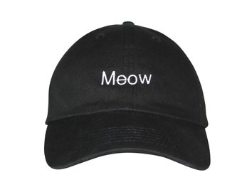 60d8d61c742 Meow Embroidered Cap Dad cap dad hat embroidered baseball cap Meow Cat Mom  hat unisex cap