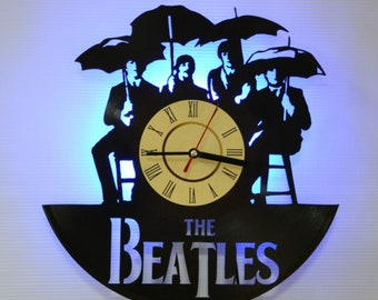 The Beatles Rock Band Led Night Light (Blue) - Vinyl Record Wall Clock - Original Home Decor - Wall Decor - Gift for Men and Women