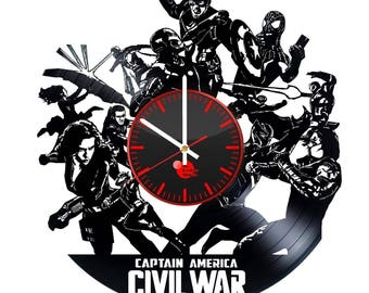 Captain America Civil War Vinyl Record Wall Clock