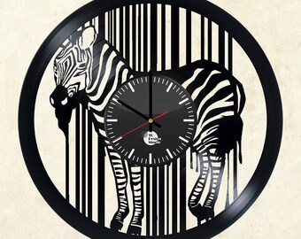 Zebra Animal Vinyl Record Wall Clock