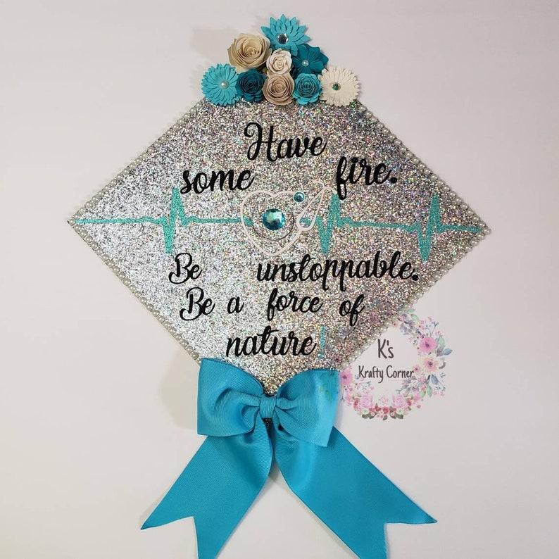 Graduation Cap Toppers/ Flower graduation cap/ Glitter Graduation Cap/  Customizable/ Graduation bow