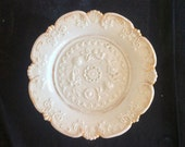 Early Antique 1880s Meissen 8 quot Diameter Cabinet Plate, High Relief Floral Decoration Gilt Signed