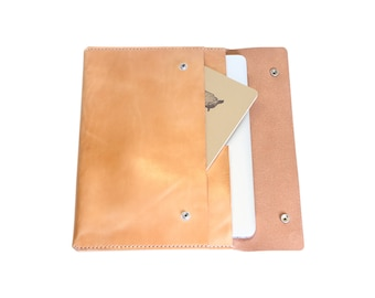 H+B Laptop/iPad Case with Pocket - Russet Leather