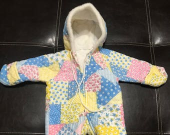 SALE PRICE Vintage Kids Baby Girls 6 month? Patchwork multicolor Hoodie Snowsuit