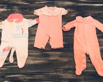 fcd37a55e Vintage Lot of Health-Tex and JC Penney Toddletime Pink Baby Girl Sleepers  Rompers Featuring Velour Terry Cloth 0-3 Months