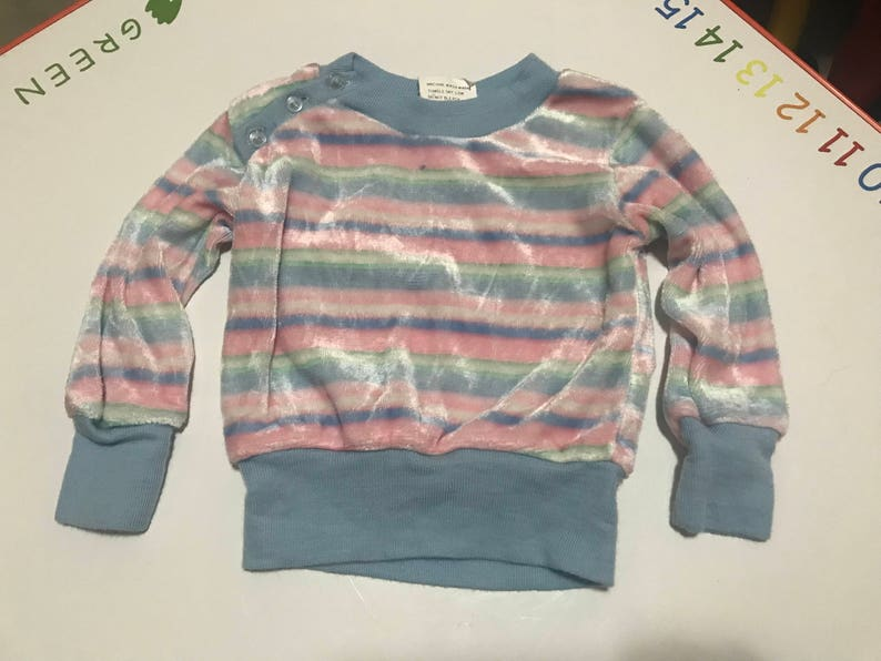 96d76a14a5e Vintage Kids Baby Girls Velour Sweater Pastel Pink Blue Green