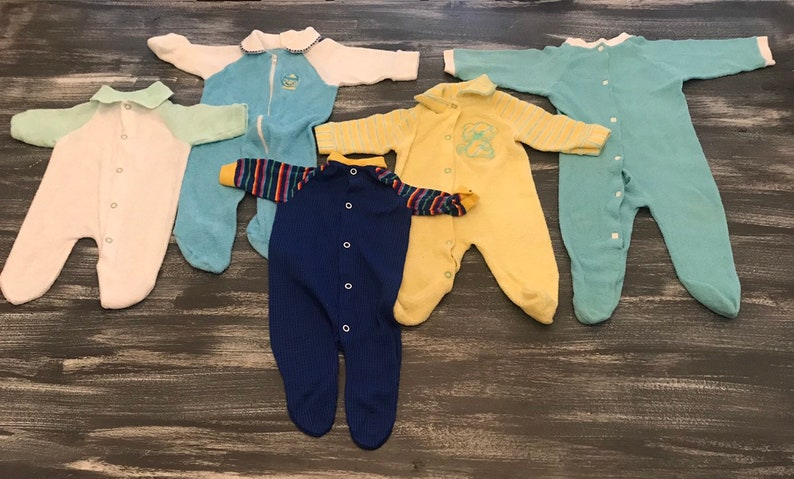 7f8b55778aec Lot of Vintage Unisex Infant Newborn Terry Cloth Sleepers