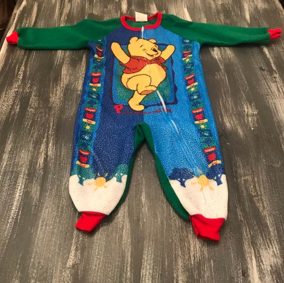 6c0f12dc9d41 Vintage Pooh 3T Fuzzy Fleece Zipper Sleeper P is for Playtime