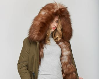 Khaki Winter Parka with Silver Fox