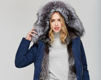 Blue Winter Parka with Silver Fox