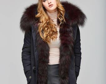 Black Winter Parka with Burgundy  Silver Fox