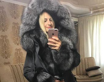 Luxury  Winter Parka with Silver Fox