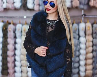 """Blue fur vest from Arctic Fox """"Talia"""""""