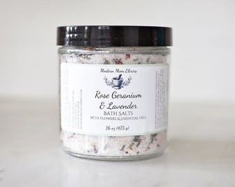 Rose Geranium & Lavender Bath Salts | Floral Bath Soak | Organic Lavender Bath | Floral Facial Steam| Rose Geranium Spa | Stress Relief Bath