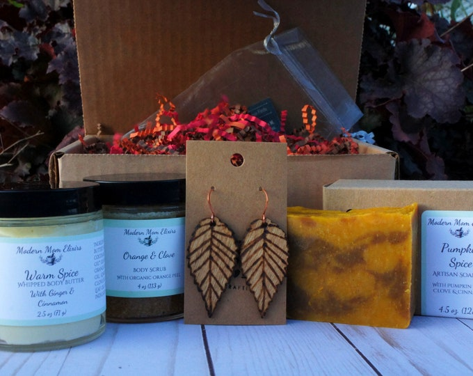 Featured listing image: Fall Favorites | Fall Gift Ideas | Autumn Jewelry and Skin Care Gift Box | Fall Gift Set For Women | Fall Self Care Box | Gifts Under 40