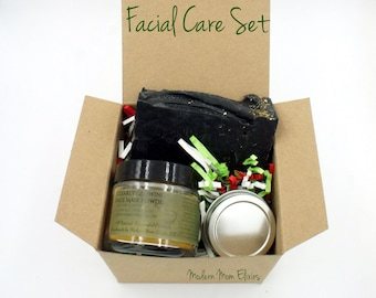 Facial Skin Care Set | Natural Skincare Set | Anti-Aging Skincare | Mature Skin Set | Acne Skin Care | Organic Skin Care Gift Box | Mom Gift