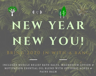New Year New You Set | 2020 Goals Package | New Year Resolution Set | Set Your Intention Bundle | Be Active Bundle | Natural Muscle Care