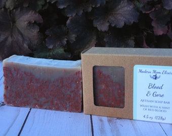 "Blood & Gore Artisan Soap Bar | Halloween Soap | Zombie Soap | Halloween Gag Gift | Washes with a tint of ""blood"" 