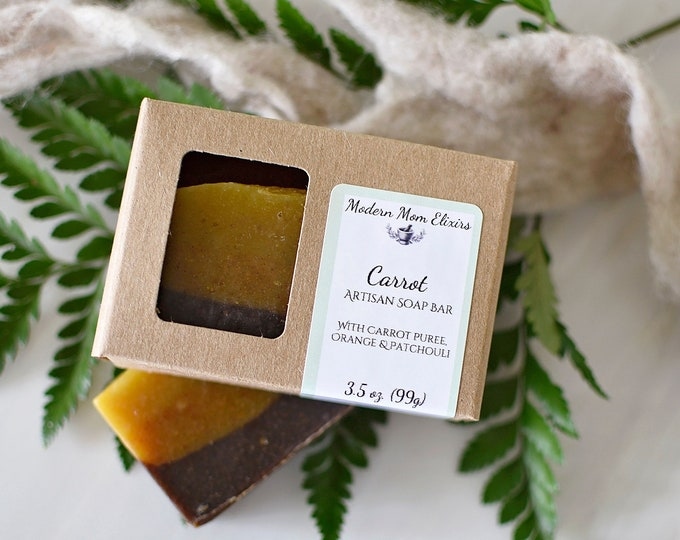 Featured listing image: Natural Soap Bar | Carrot Soap | Skin Loving Soap | Skin Healing Soap | Natural Skin Care | Organic Soap Bar | Plant Based Soap | Vegan Soap