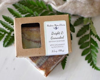 Spearmint & Patchouli Soap | Handcrafted Soap | Natural Soap | Refreshing Soap | Bright and Grounded Soap Bar
