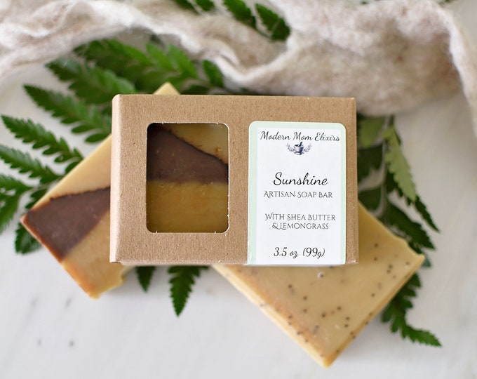 Featured listing image: Sunshine Soap Bar | Lemongrass Soap | Exfoliating Soap | Patchouli Soap | Refreshing Cleanser | Shower Soap Bar | Gifts for Her | Vegan Soap