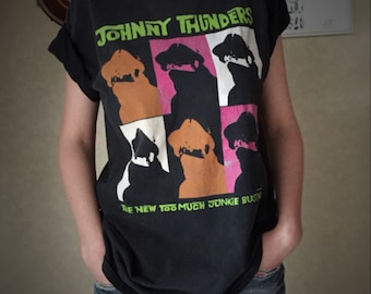 """VINTAGE Johnny Thunders """"The New Too Much Junkie Business"""" T-shirt. Design inspired by the audio tape released in 1983 on the label ROIR."""