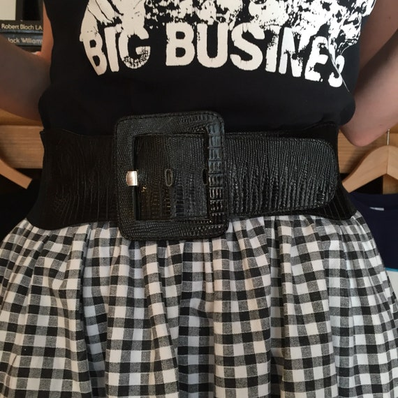2b5e34f72c8a7c Wide belt black Vintage 80's. Pin-up. Retro. WaSP waist. Fashion. Glamour.  Burlesque. Made in France.