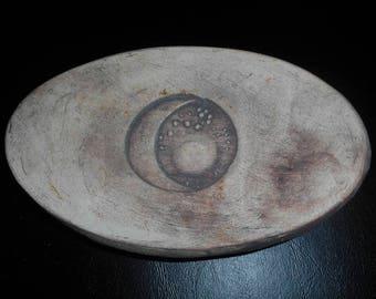 Goddess Sun Moon Stars Dish, Hand Made