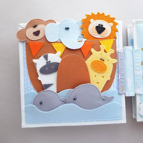 Noah's ark quiet book page, Busy baby book, Montessori activity educational  toy, Sensory soft toy for the development of the baby
