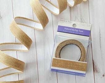 Natural Burlap Tape - Adhesive Backed Burlap Ribbon - Decorative Craft Tape