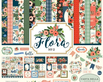 Flora No. 2, 12x12 Collection Kit, Scrapbook Paper and Embellishment Stickers, Carta Bella