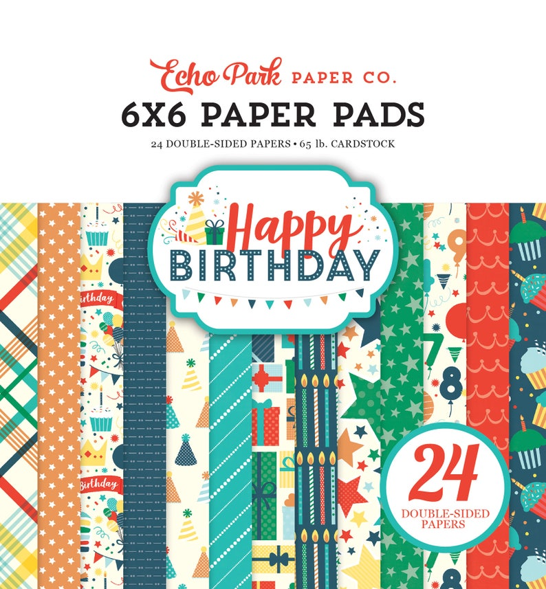 "6 Colors//4 Each Echo Park Double-sided Paper Pad 6/""x6/"" 24//pkg-autumn Gingham"