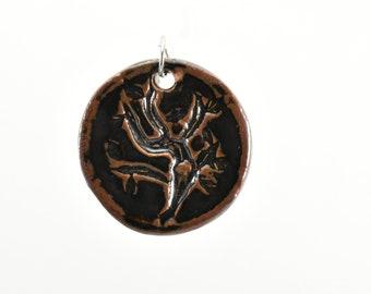 Clay Tree Nature Pendant, Temmoku Glaze Number 2