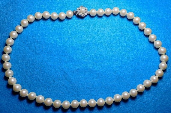 Possibly Handmade Detailed Vintage Faux Pearl Necklace